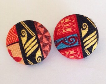 Multi Color African Tribal Print Button Earrings