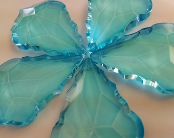 5 Light Aqua 76mm French Chandelier Crystals 76mm Antique Green