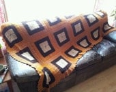 Large Brown Mid Century Classic Granny Square Hand Knit Blanket, Crocheted Afghan, Vintage Cozy Cabin Wrap, Earthy Boho Chic Cottage Picnic