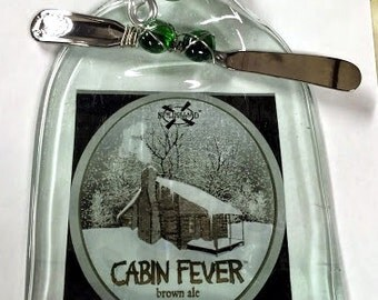 Cabin Fever Melted Wine Bottle Cheese Board - Hors d'Oeuvre Plate