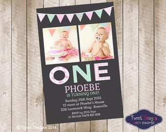 1ST BIRTHDAY INVITATION, Printable Birthday Invitations, Girl Photo Invitations, Shabby Chic 1st Birthday Girl Photo Invitation