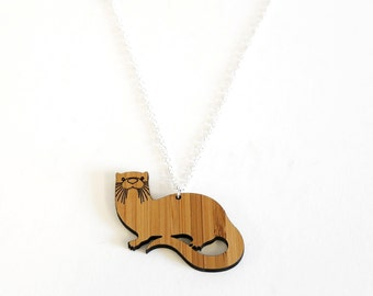 Otter Necklace, Bamboo Necklace, Christmas Gift, Christmas Stocking Present, Laser Cut by the Owl & Otter