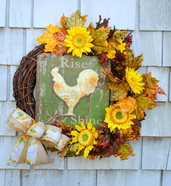 Fall Wreath Autumn Harvest Rooster Wreath For The Door Sale