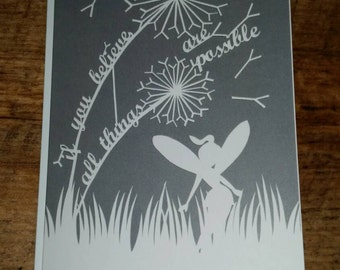 Printed fairy card grey