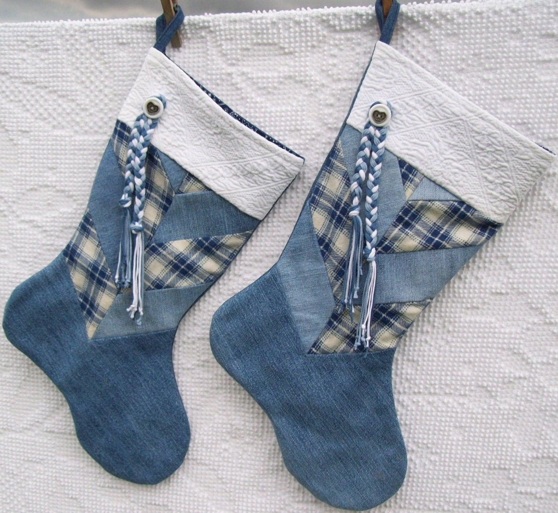 Denim Christmas Stockings Holiday Decor Handmade Stocking