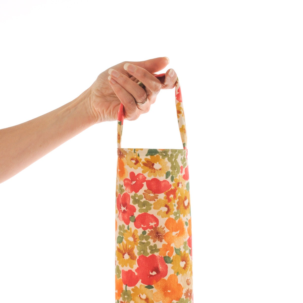 Floral pattern grocery bag holder poppy red orange plastic