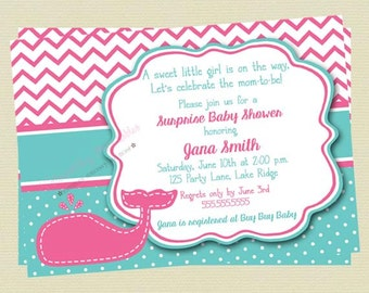 Girl Whale Baby Shower Invitation/Pink and Teal Shower/Whale Invitation/Nautical Baby Shower Invite/DIY Printable File