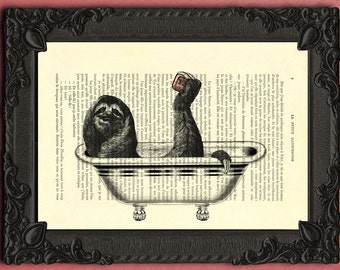 sloth print - sloth bath art print, toed sloth book page art bathroom decor, bathroom art