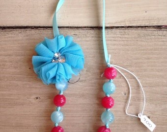 Pink and blue bead necklace
