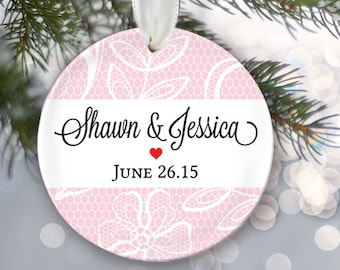 Bride and Groom Personalized Christmas Ornament Lace Ornament Bridal Shower Gift Christmas Gift Name & Date Personalized wedding gift OR201