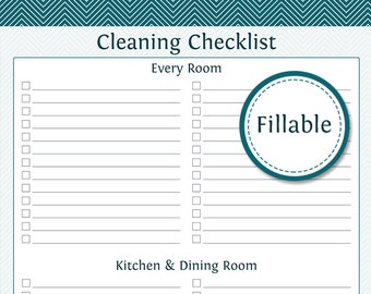 Cleaning by Room Checklist - Fillable - Printable PDF - Instant Download - Cleaning Checklist