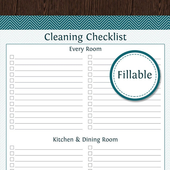 Cleaning by Room Checklist Fillable Printable PDF