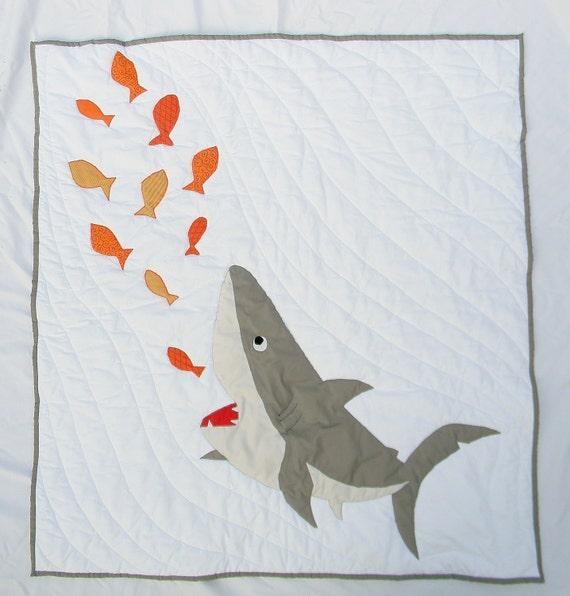 Shark baby quilt Nautical crib quilt bedding by createdbymammy