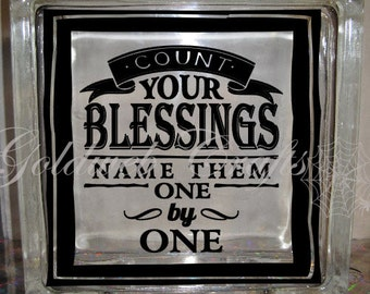 DIY Decal for Glass Blocks - Count Your Blessings, Name Them, One By One Glass Block Decal