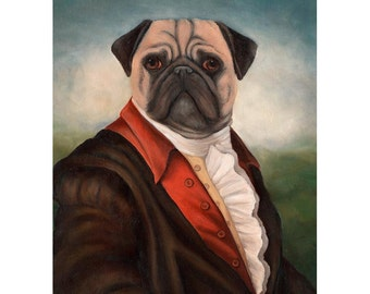 Pug Prints, Thaddius Pugsley, Fawn Pug Art Print, Pug in Clothes