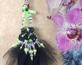 Christmas Ornament Green Black Lace Dress Beads Fashion Pearls Gift