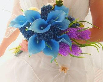 Elegant Blue Calla Lilies Bouquet Real Touch Latex Calla Lilies Silk Peony Bouquet