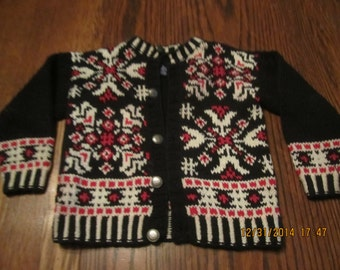 Sweet Little Norwegian Style Girls Sweater with Pewter Buttons