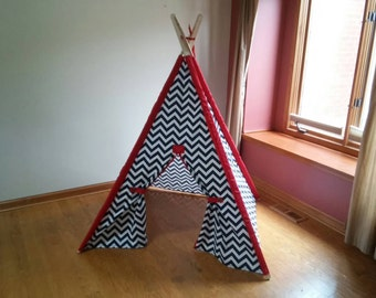Navy and White Chevron Teepee with red accents or Pick your color Chevron Tent , Kids tent Made to Order