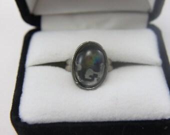 FINAL SALE!! Vintage Silver Tone Ring Camouflage Cabochon UNIQUE!!