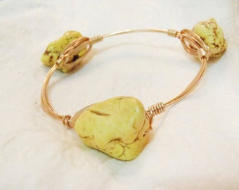 Yellow Magnesite Gemstone Wire Wrapped Bangle - Semi Precious Yellow Turquoise nugget on gold tone wire