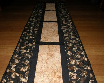 Quilted Table Runner, Black Tan Batik Quilted Table Runner, Batik Quilt, Ginkgo Leaves Black Tan Quilt, Black Tan Quilt, Quiltsy Handmade