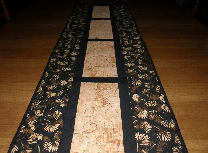 quilted table runner black and tan batik quilted table