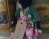 """RESERVED for Karen. Hand knitted Folk Cat. """"Edith"""""""