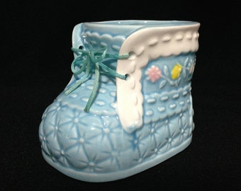 Vintage  New Baby Gift, Blue Baby Shoe Planter  (LDT2)