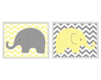 Elephant Nursery Art, Yellow Gray Decor, Chevron Print, Neutral Nursery Art, Elephant Wall Art, Baby Boy Room, Baby Girl Decor, Baby Shower