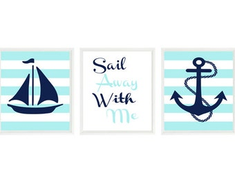 Nautical Wall Art, Sail Away With Me Quote, Navy Blue Aqua Decor, Nautical Stripes, Sailboat Art, Anchor Print, Nursery Art, Bathroom Art