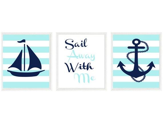 Anchor bathroom decor - Decor Nautical Stripes Sailboat Art Anchor Print Nursery Art