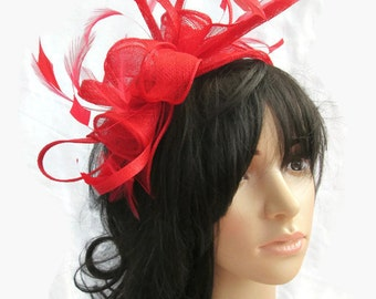 Stunning Red  rosette Sinamay and  Feather Fascinator