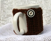 Mug Cozy,  Crocheted Mug Jacket,  Coffee Cup Cover,  Re-Usable Mug Wrap,  Dark Chocolate and White Accent Button