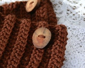 Crochet Boot Cuffs With Handmade Wood Button Accent in Chocolate Brown