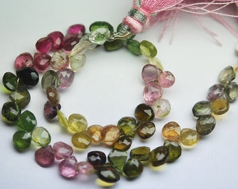 57 Carats,8 Inch strand Super-FINEST,Multi Tourmaline faceted PEAR briolettes 6-7mm