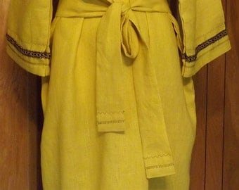 293 Bamboo 100% Linen Extra Long T-Tunic with Decorative Trim/Stitching and Matching Belt