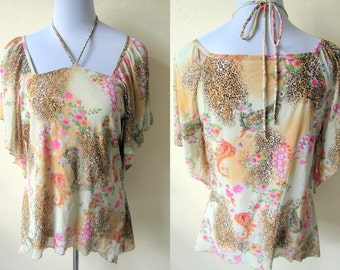 Spring Sale: yellow kaftan blouse with leopard, floral and paisley prints (large; plus size), printed top