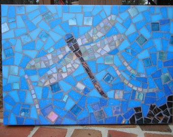Mosaic dragonfly canvas print by Mosaic Marie