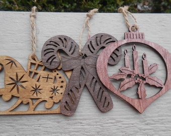 Set of Three Wood Ornaments, Laser Cut Sleigh, Candy Cane, Holly. Christmas, Holiday Decoration. Rustic.