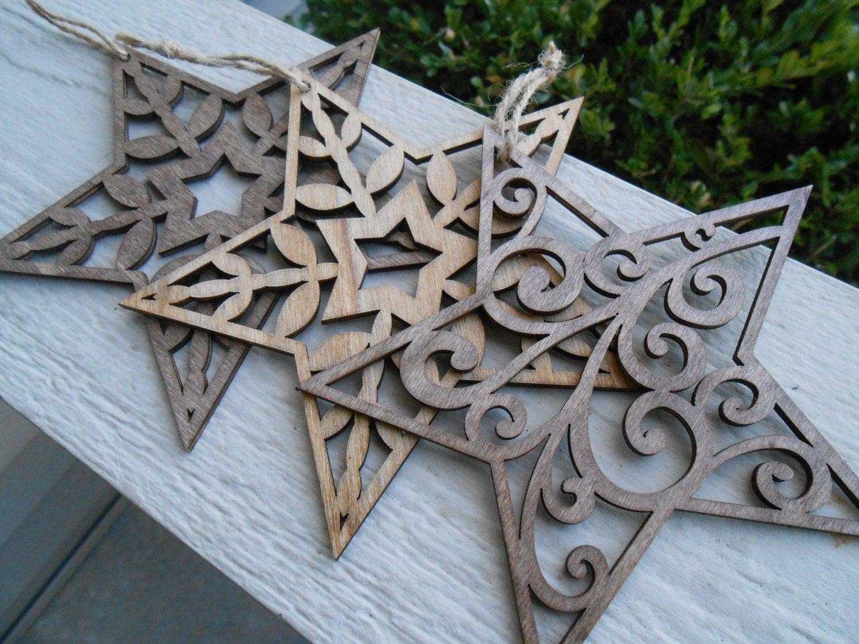 Set of three star ornaments laser cut christmas holiday