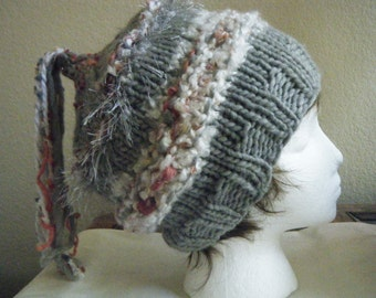 Hand knit wool hat for women or girls.