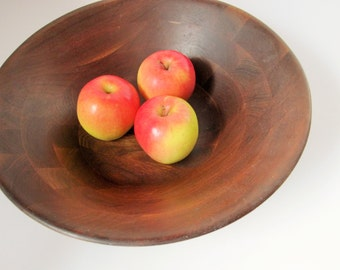 Vintage - Beautiful Dark Wood, Segmented Carved Bowl  - Farmhouse Chic - Multiple Use Bowl - Large - Hand-crafted Bowl - Walnut Wood Bowl