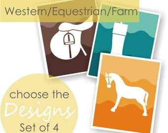 Equestrian Decor, Horse Nursery, Western Nursery, Ombre Art, farm Gifts, Toddler Art, Kids Playroom Art, Childrens Bedroom, Boys room decor