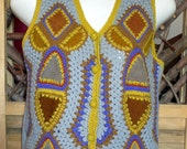 Vintage Aware Vest Hippie 70s 60s Suede Leather Knitted Yellow Brown Blue L 33