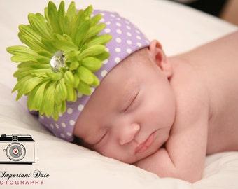 Newborn Beanie.Baby Beanie.Infant Beanie.Baby Girl Beanie.Newborn Hat.Baby Hat.Flower Clip Beanie.Cotton Hat.Cotton Beanie Flower Clip