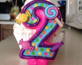 3 inch tall sparkly sweet shoppe/candy themed birthday candle - any number!