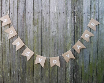 Bon Voyage Bunting. Burlap Garland. Traveller's Farewell Banner. Bon Voyage. Hessian Bunting. Farewell Party Décor.