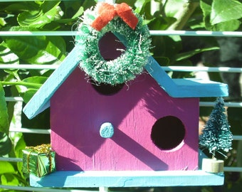 Double Wide Bird House Ornament Light Turquoise Roof/Fuchsia House (22)