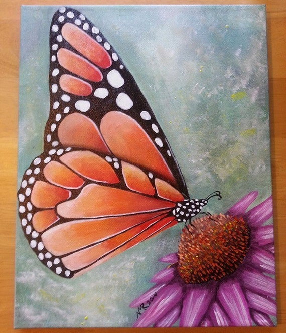 monarch butterfly acrylic on canvas hand painting ooak orange
